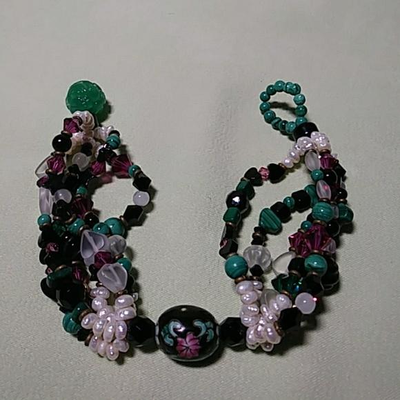Malachite Jade Pearl Boho Bracelet